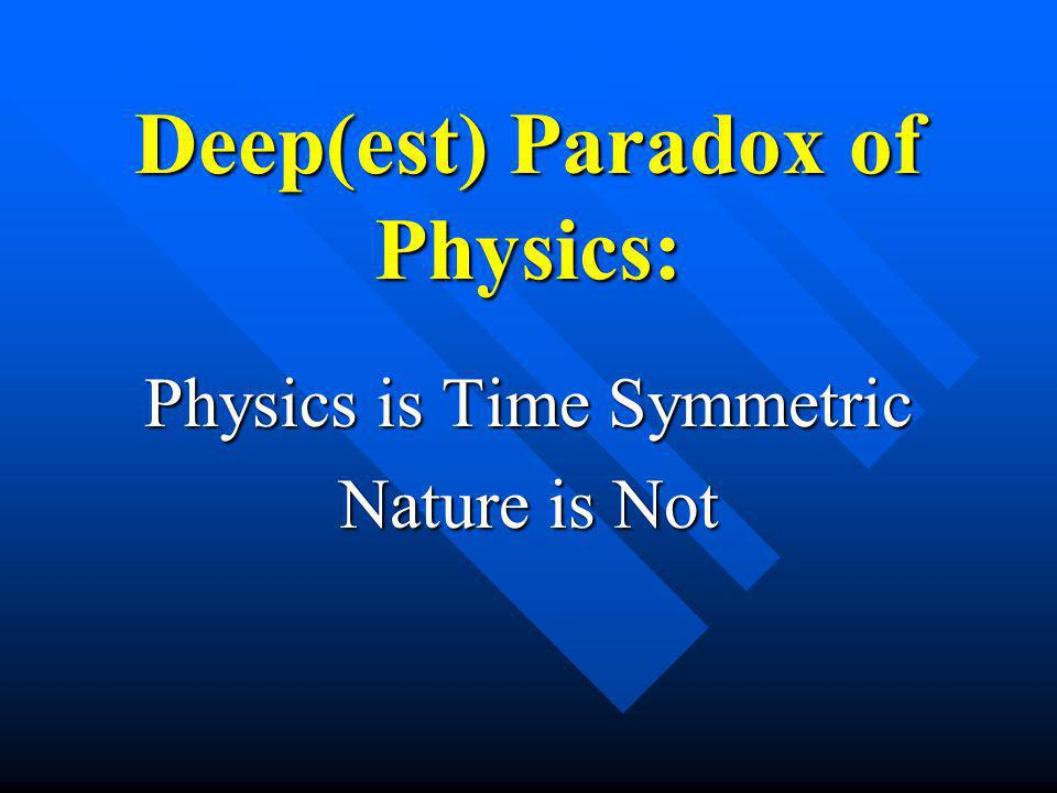Deep(est) Paradox of Physics: Physics is Time Symmetric Nature is Not