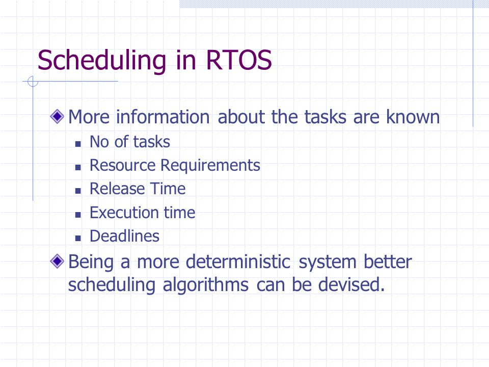Scheduling in RTOS More information about the tasks are known No of tasks Resource Requirements Release Time Execution time Deadlines Being a more deterministic system better scheduling algorithms can be devised.