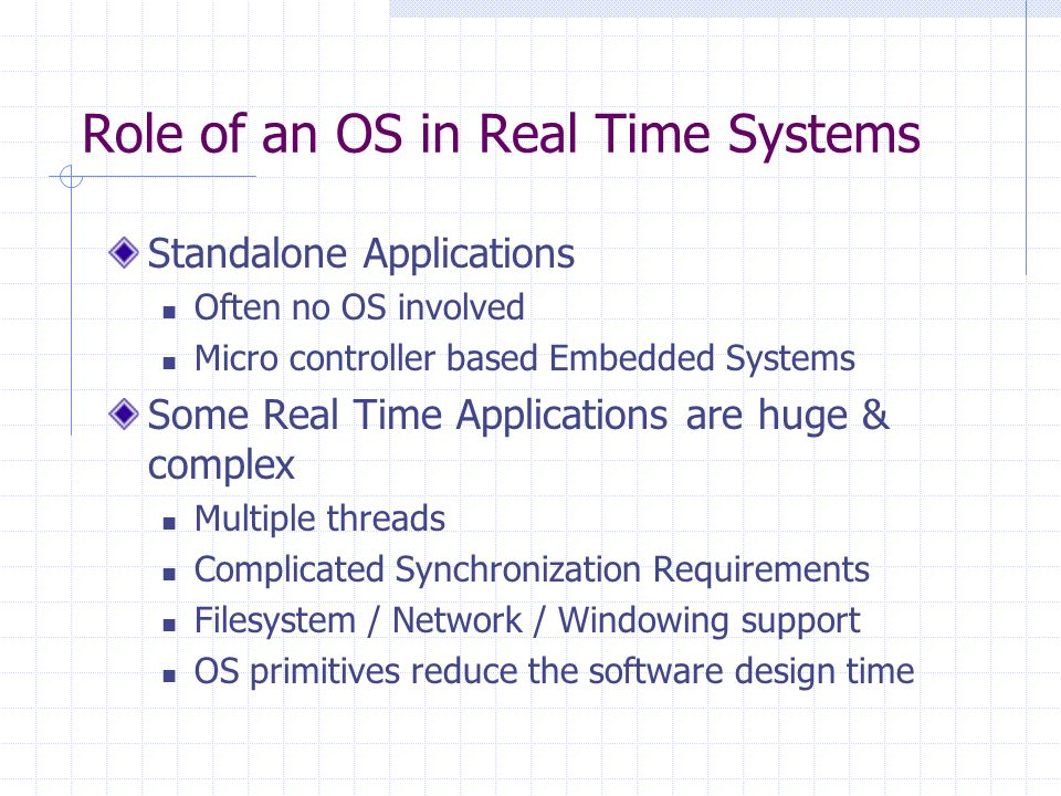 Role of an OS in Real Time Systems Standalone Applications Often no OS involved Micro controller based Embedded Systems Some Real Time Applications are huge & complex Multiple threads Complicated Synchronization Requirements Filesystem / Network / Windowing support OS primitives reduce the software design time