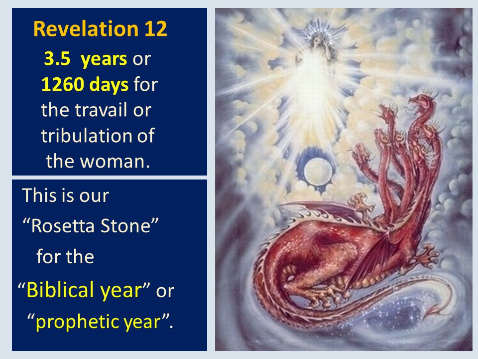 Revelation 12 3.5 years or 1260 days for the travail or tribulation of the woman.