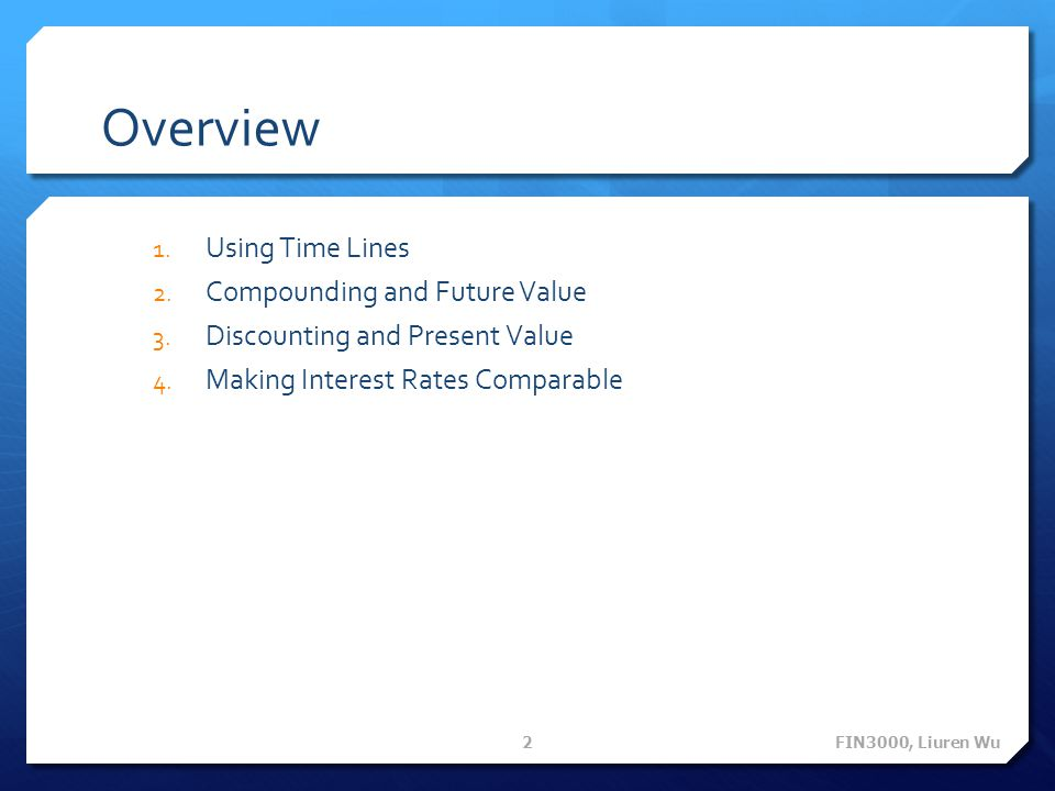 Overview 1.Using Time Lines 2. Compounding and Future Value 3.