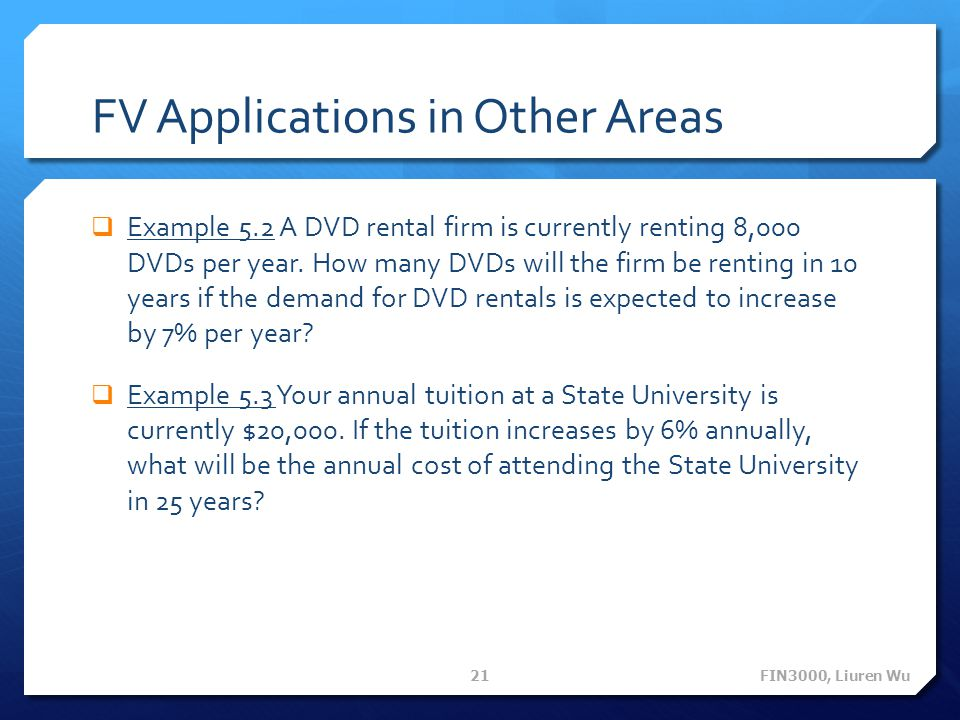 FV Applications in Other Areas Example 5.2 A DVD rental firm is currently renting 8,000 DVDs per year.