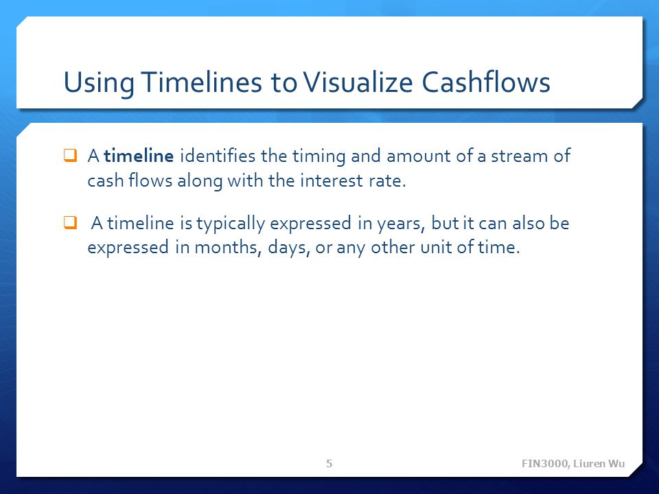 Using Timelines to Visualize Cashflows A timeline identifies the timing and amount of a stream of cash flows along with the interest rate.