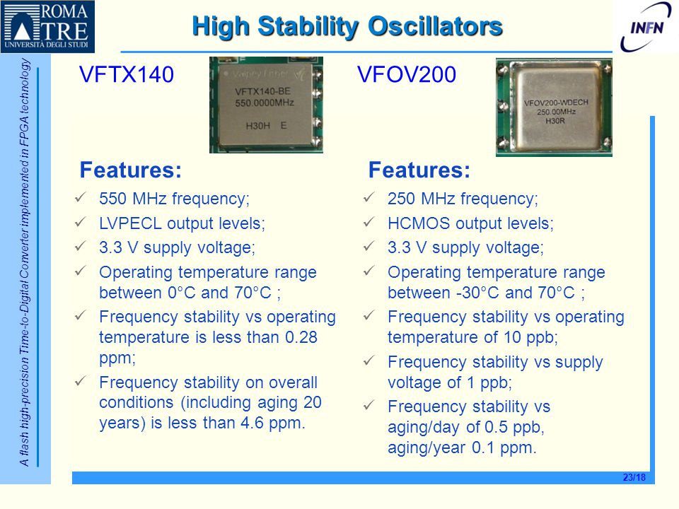 A flash high-precision Time-to-Digital Converter implemented in FPGA technology 23/18 High Stability Oscillators VFTX140VFOV200 Features: 550 MHz freq