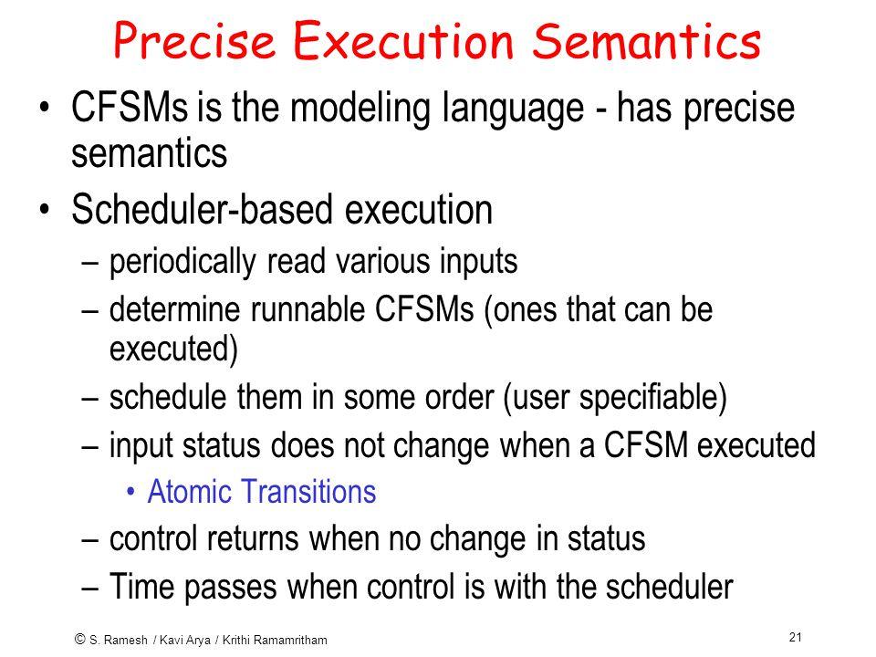 © S. Ramesh / Kavi Arya / Krithi Ramamritham 21 Precise Execution Semantics CFSMs is the modeling language - has precise semantics Scheduler-based exe