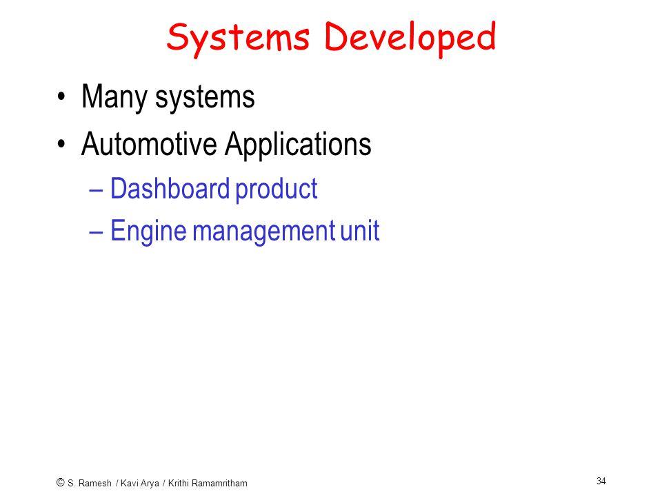 © S. Ramesh / Kavi Arya / Krithi Ramamritham 34 Systems Developed Many systems Automotive Applications –Dashboard product –Engine management unit