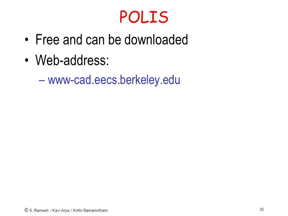 © S. Ramesh / Kavi Arya / Krithi Ramamritham 35 POLIS Free and can be downloaded Web-address: –www-cad.eecs.berkeley.edu