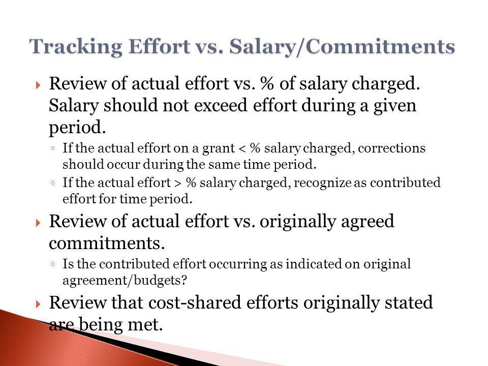 Review of actual effort vs. % of salary charged. Salary should not exceed effort during a given period. If the actual effort on a grant < % salary cha