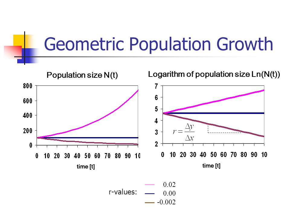 Geometric Population Growth time [t] Population size N(t) 0.02 0.00 -0.002 r-values: time [t] Logarithm of population size Ln(N(t))