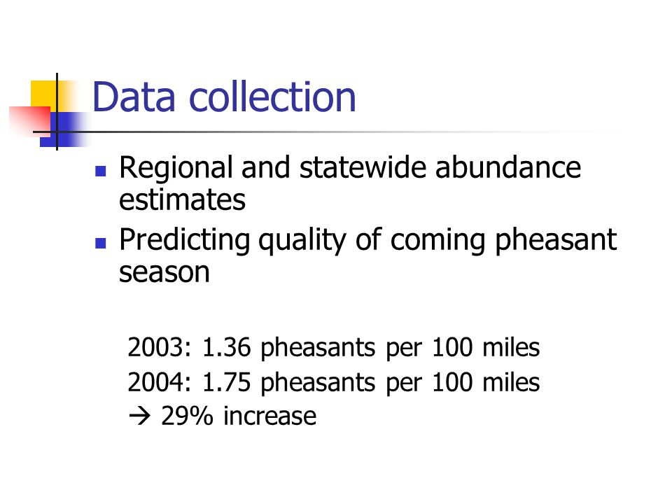Data collection Regional and statewide abundance estimates Predicting quality of coming pheasant season 2003: 1.36 pheasants per 100 miles 2004: 1.75 pheasants per 100 miles 29% increase