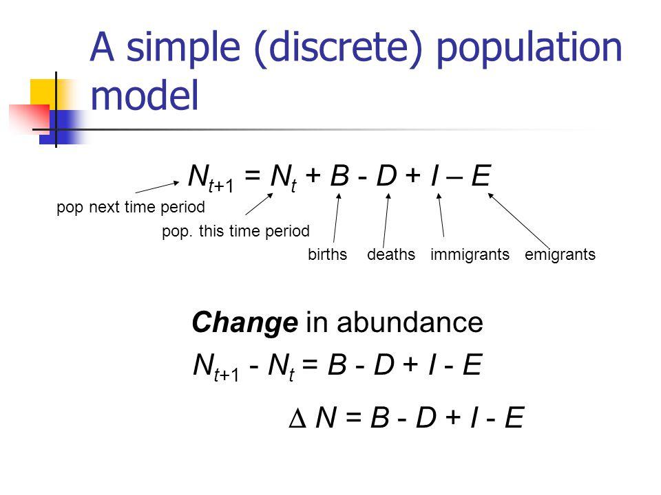 Basic closed population model Simplifying assumption: no movement between populations Abundance N t+1 = N t + B – D Change in abundance N = B – D if B > D then population increase if B< D then population decrease if B = D then stable population