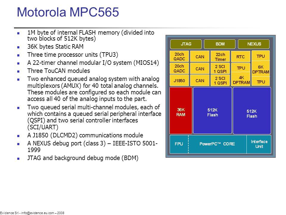 Evidence Srl - info@evidence.eu.com – 2008 Motorola MPC565 1M byte of internal FLASH memory (divided into two blocks of 512K bytes) 36K bytes Static R