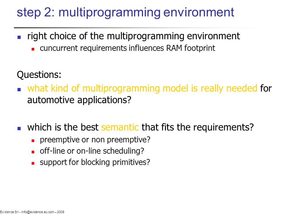 Evidence Srl - info@evidence.eu.com – 2008 step 2: multiprogramming environment right choice of the multiprogramming environment cuncurrent requiremen