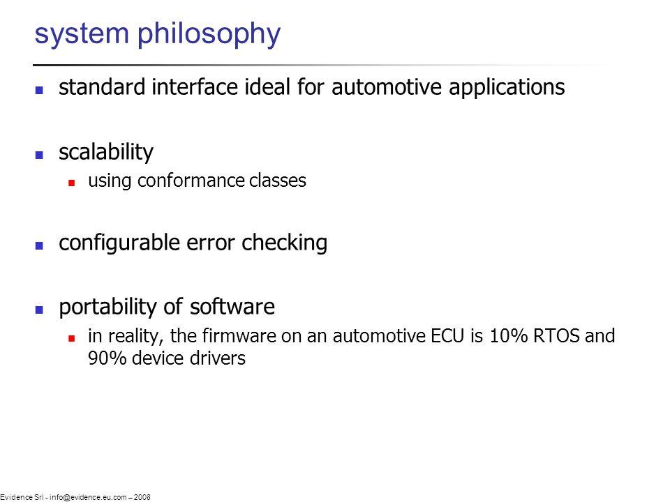 Evidence Srl - info@evidence.eu.com – 2008 system philosophy standard interface ideal for automotive applications scalability using conformance classe
