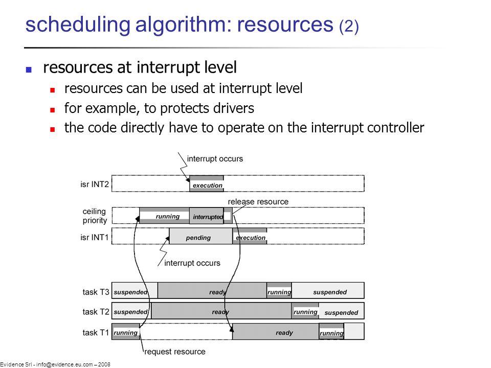 Evidence Srl - info@evidence.eu.com – 2008 scheduling algorithm: resources (2) resources at interrupt level resources can be used at interrupt level f