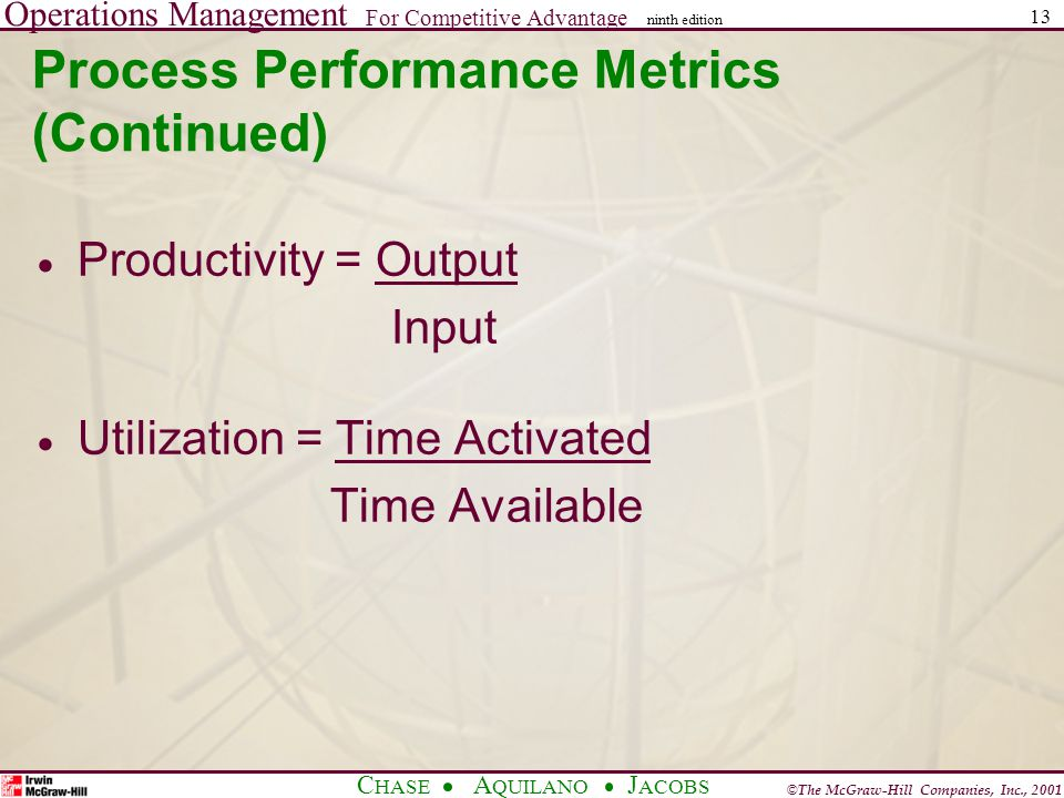 Operations Management For Competitive Advantage © The McGraw-Hill Companies, Inc., 2001 C HASE A QUILANO J ACOBS ninth edition 13 Process Performance Metrics (Continued) Productivity = Output Input Utilization = Time Activated Time Available