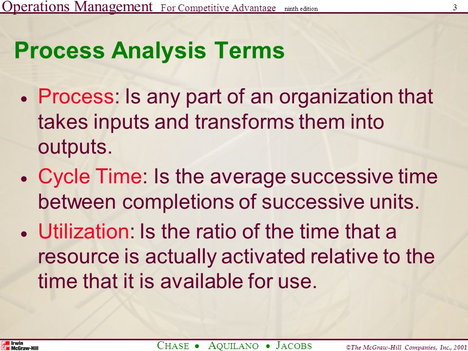 Operations Management For Competitive Advantage © The McGraw-Hill Companies, Inc., 2001 C HASE A QUILANO J ACOBS ninth edition 3 Process Analysis Terms Process: Is any part of an organization that takes inputs and transforms them into outputs.