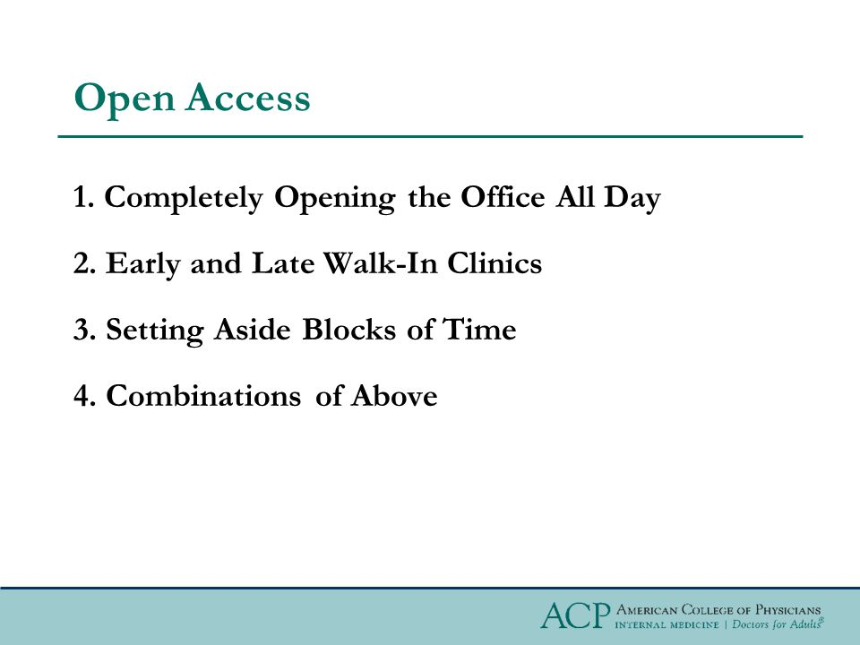 Open Access 1. Completely Opening the Office All Day 2.