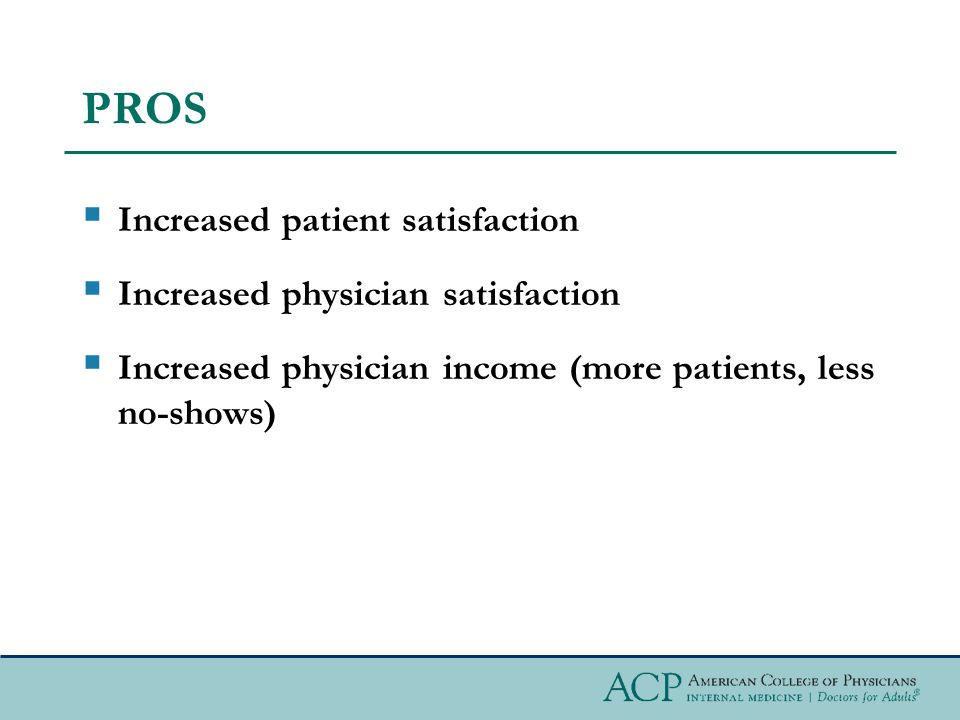 PROS Increased patient satisfaction Increased physician satisfaction Increased physician income (more patients, less no-shows)