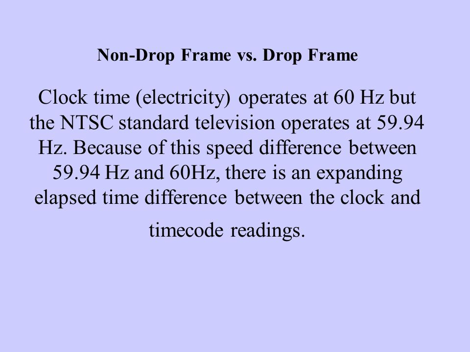 Non Drop vs.Drop Frame Drop and non-drop timecodes are both methods of counting video frames.
