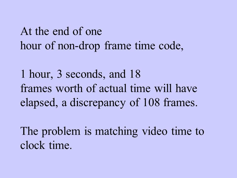 Non-Drop frame Non-drop frame mode is used primarily by people making dvdS, CD-I or other interactive programs where every frame needs to have a sequential identity so that the frame can be accurately located.