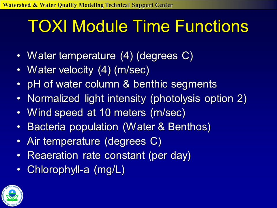 Watershed & Water Quality Modeling Technical Support Center TOXI Module Time Functions Water temperature (4) (degrees C)Water temperature (4) (degrees