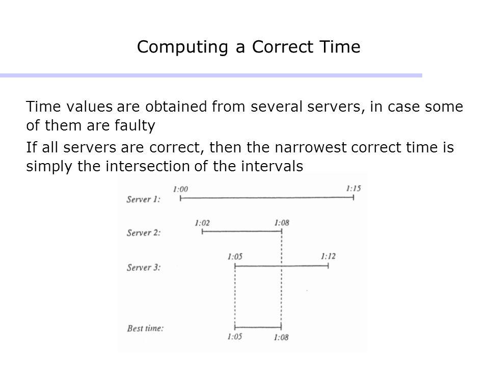 Computing a Correct Time Time values are obtained from several servers, in case some of them are faulty If all servers are correct, then the narrowest correct time is simply the intersection of the intervals