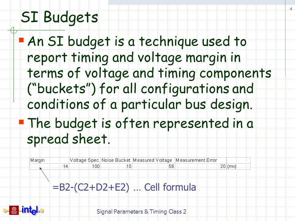 4 Signal Parameters & Timing Class 2 SI Budgets An SI budget is a technique used to report timing and voltage margin in terms of voltage and timing co