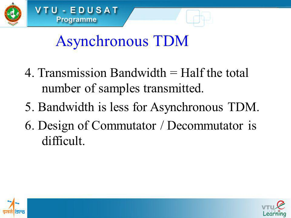 Asynchronous TDM 1.Different Sampling rate for different. signals. 2.Sampling rate of a signal = twice the maximum frequency of that signal. 3.Total n