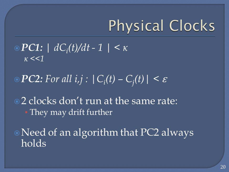 PC1: | dC i (t)/dt - 1 | < ĸ ĸ <<1 PC2: For all i,j : |C i (t) – C j (t)| < 2 clocks dont run at the same rate: They may drift further Need of an algo