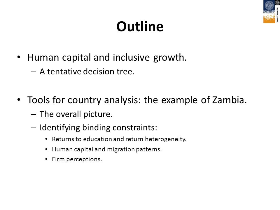 Outline Human capital and inclusive growth. – A tentative decision tree.