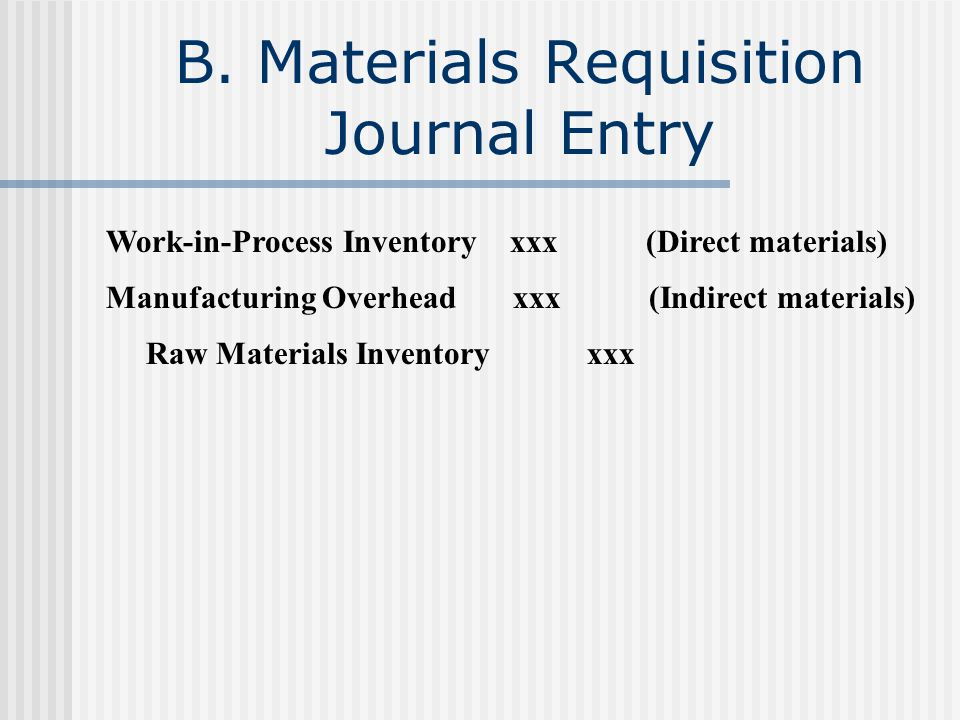 B. Materials Requisition Journal Entry Work-in-Process Inventory xxx (Direct materials) Manufacturing Overhead xxx (Indirect materials) Raw Materials