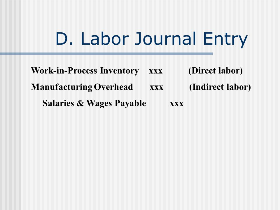 D. Labor Journal Entry Work-in-Process Inventory xxx (Direct labor) Manufacturing Overhead xxx (Indirect labor) Salaries & Wages Payable xxx