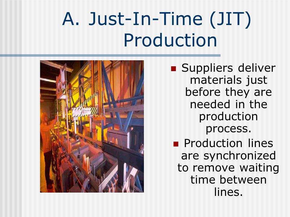A.Just-In-Time (JIT) Production Suppliers deliver materials just before they are needed in the production process. Production lines are synchronized t