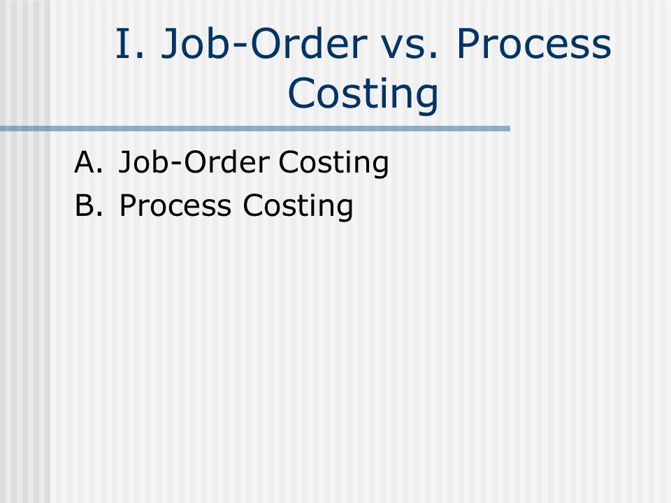 I. Job-Order vs. Process Costing A.Job-Order Costing B.Process Costing