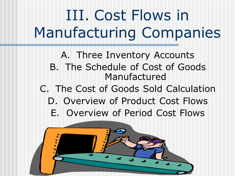 III. Cost Flows in Manufacturing Companies A.Three Inventory Accounts B.The Schedule of Cost of Goods Manufactured C.The Cost of Goods Sold Calculatio