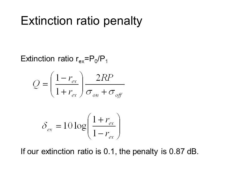 Extinction ratio penalty Extinction ratio r ex =P 0 /P 1 If our extinction ratio is 0.1, the penalty is 0.87 dB.