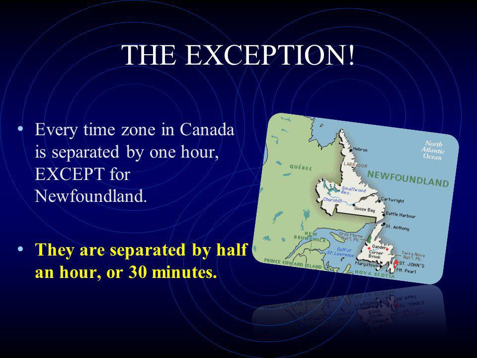 Canadas 6 time zones are as follows: Pacific Time (3 hours behind us) Mountain Time (2 hours behind us) Central Time (1 hour behind us) Eastern Time (