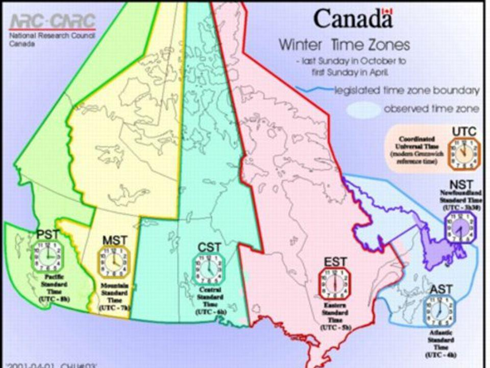 Lines on the Earth Time Zones There are 6 time zones in Canada