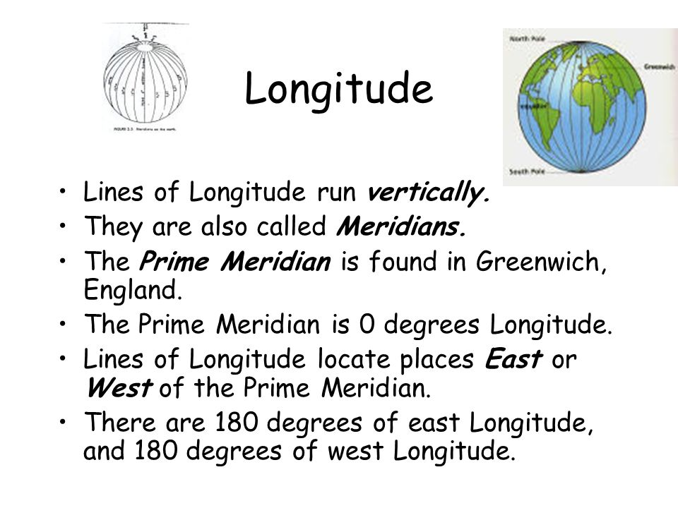 Longitude Lines of Longitude run vertically.They are also called Meridians.