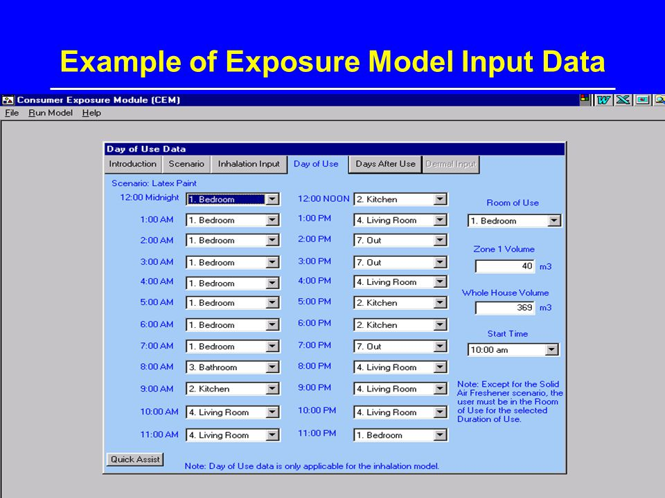 Example of Exposure Model Input Data