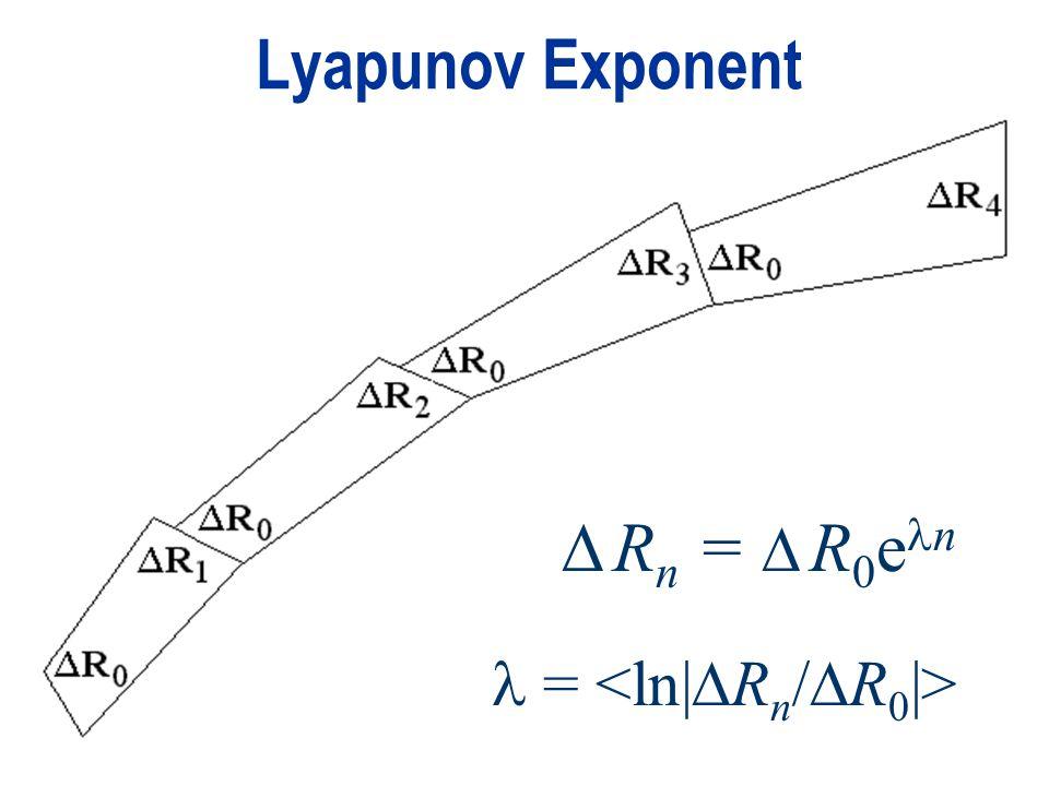 Lyapunov Exponent = R n = R 0 e n