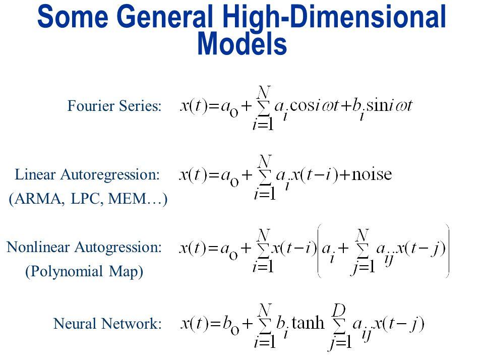 Some General High-Dimensional Models Fourier Series: Linear Autoregression: Nonlinear Autogression: Neural Network: (ARMA, LPC, MEM…) (Polynomial Map)