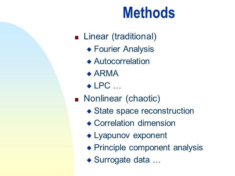 Methods n Linear (traditional) u Fourier Analysis u Autocorrelation u ARMA u LPC … n Nonlinear (chaotic) u State space reconstruction u Correlation di