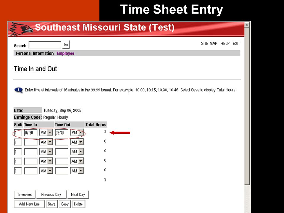 Time Sheet Entry Enter Time In and Time Out. Select AM or PM