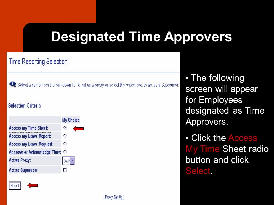 Designated Time Approvers The following screen will appear for Employees designated as Time Approvers.