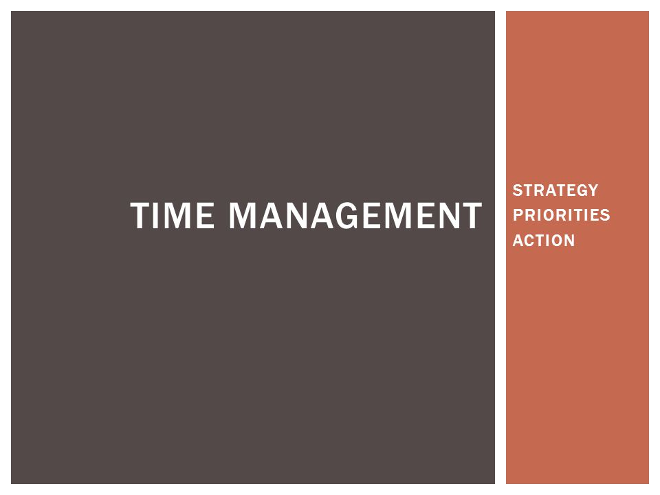 STRATEGY PRIORITIES ACTION TIME MANAGEMENT