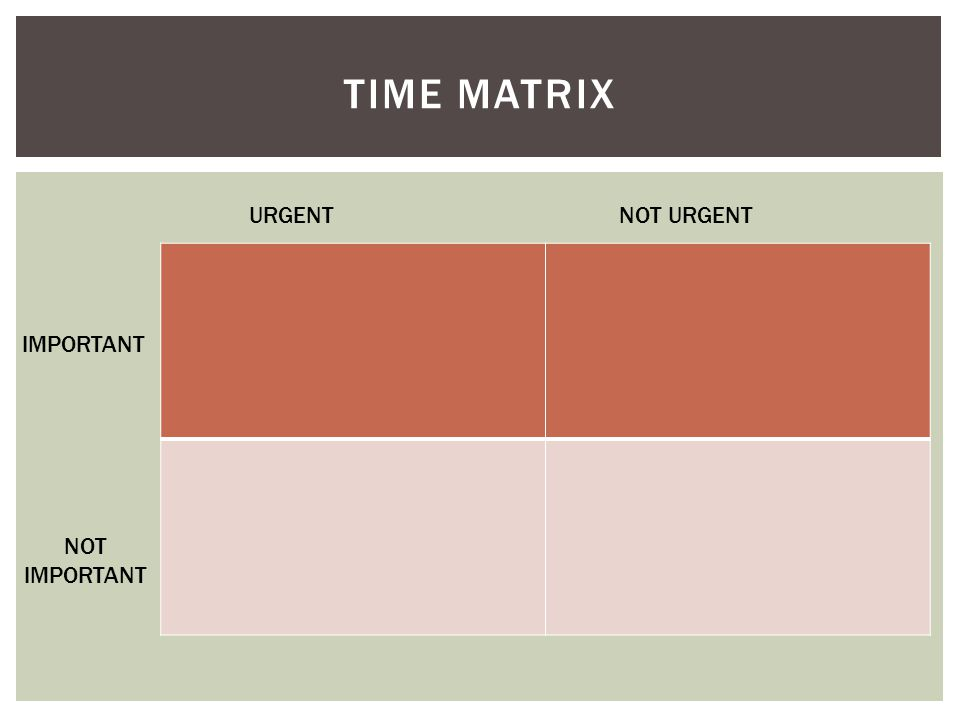 TIME MATRIX NOT URGENT URGENT NOT IMPORTANT IMPORTANT
