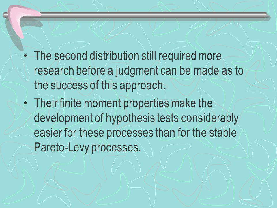 The second distribution still required more research before a judgment can be made as to the success of this approach.