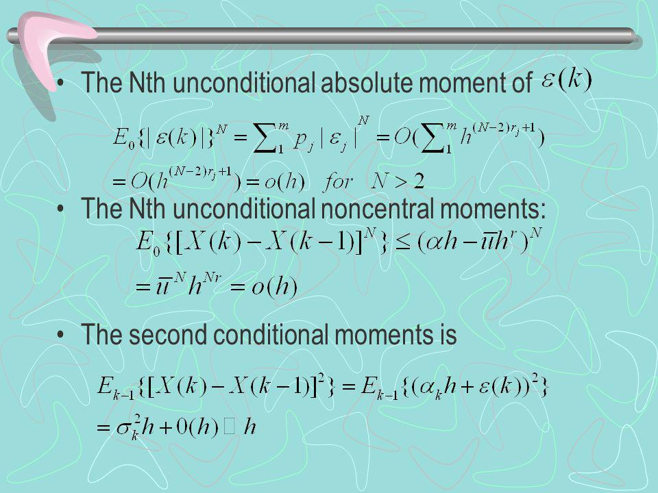 The Nth unconditional absolute moment of The Nth unconditional noncentral moments: The second conditional moments is